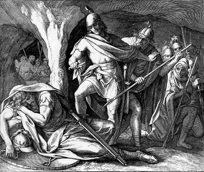 иллюстрация к библии ПЕРВА КНИГА ЦАРСТВ глава 24