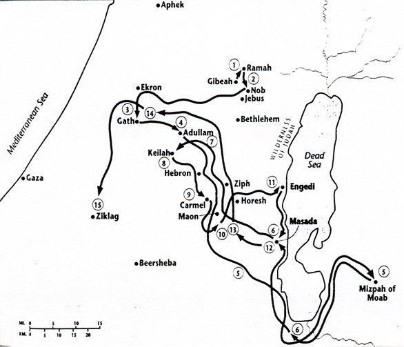 Карта бегства Давида от Саула