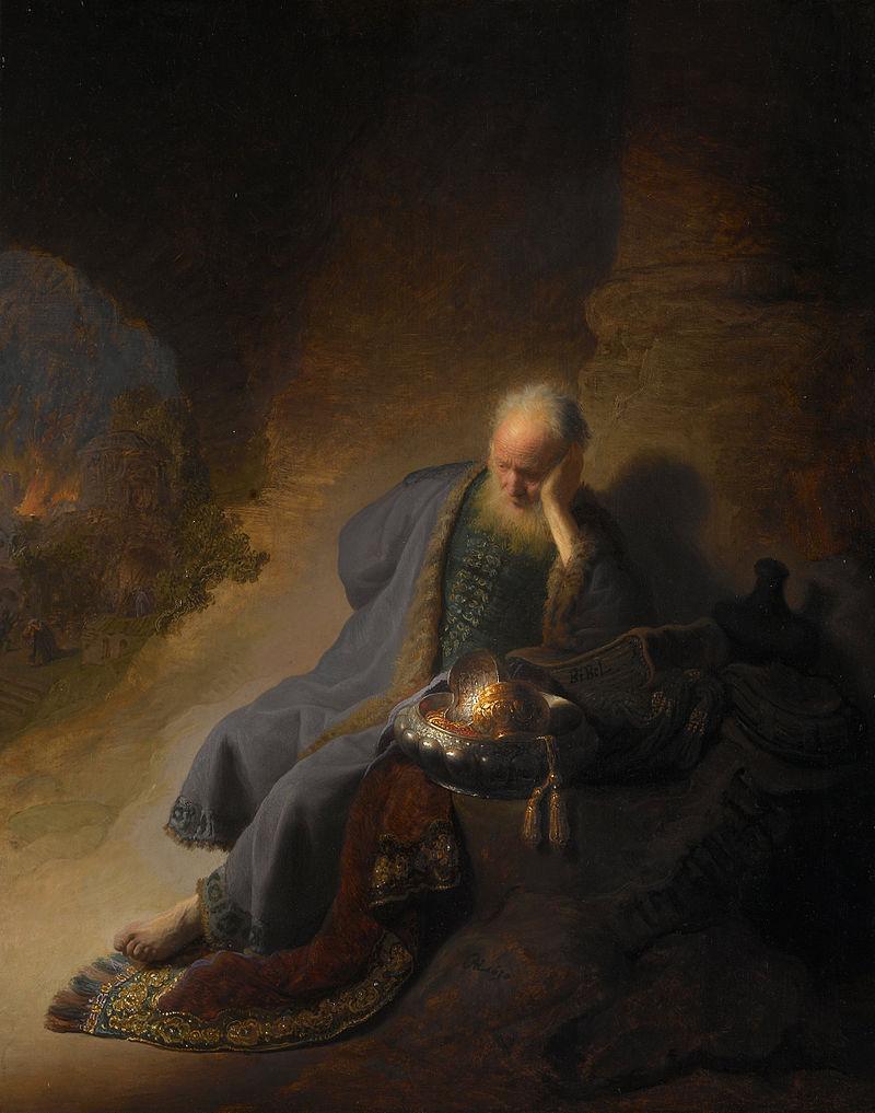 Рембрандт, плач Иеремии на руинах Иерусалима
