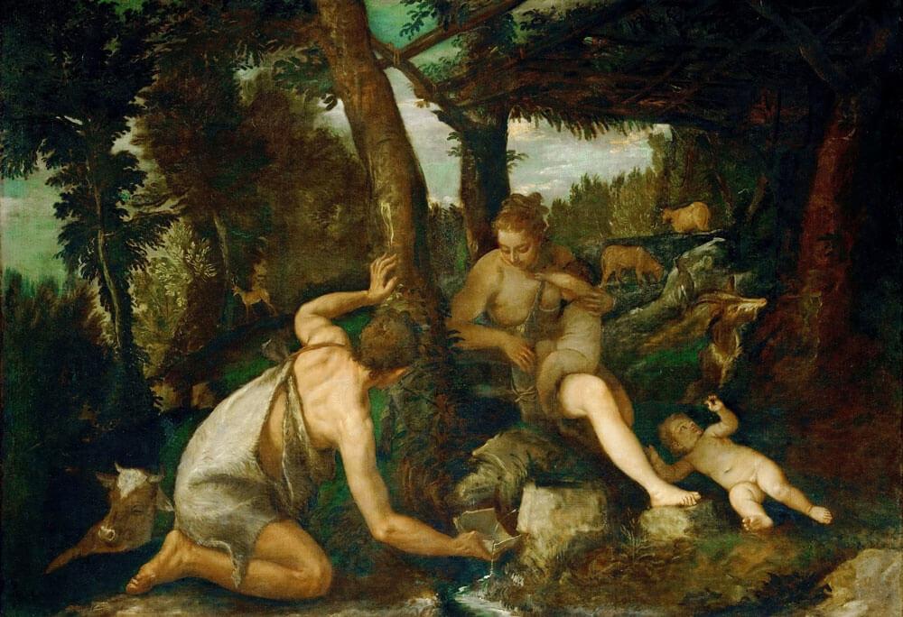 Адам и Ева после изгнания из Рая. Художник Паоло Веронезе 1580-1588 гг.
