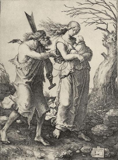 Адам и Ева после изгнания из Рая. художник Лукас ван Лейден