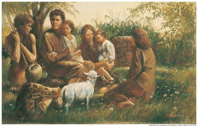 Адам с семьёй.