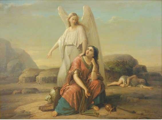 Агар в пустыне. Художник Георге Таттареску, 1870 г.