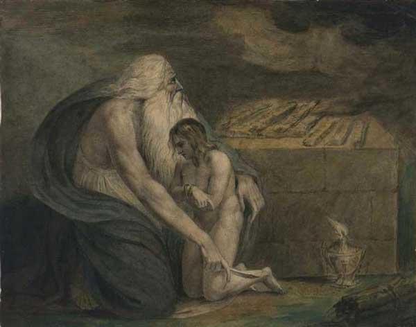 Авраам готовится принести в жертву Исаака. Художник Уильям Блейк,1783 г.