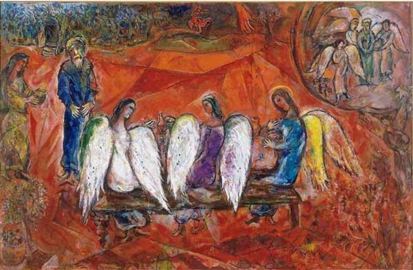 Авраам и три ангела. Художник Марк Шагал, 1966 г.