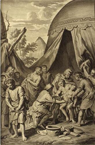Авраам обрезает крайнюю плоть. Художник Герард Хоет, 1728 г.