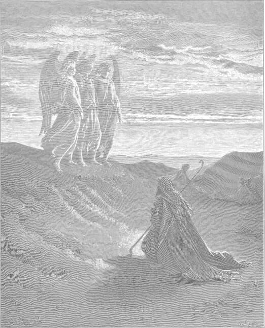 Аврам и три Ангела. Художник Г. Доре