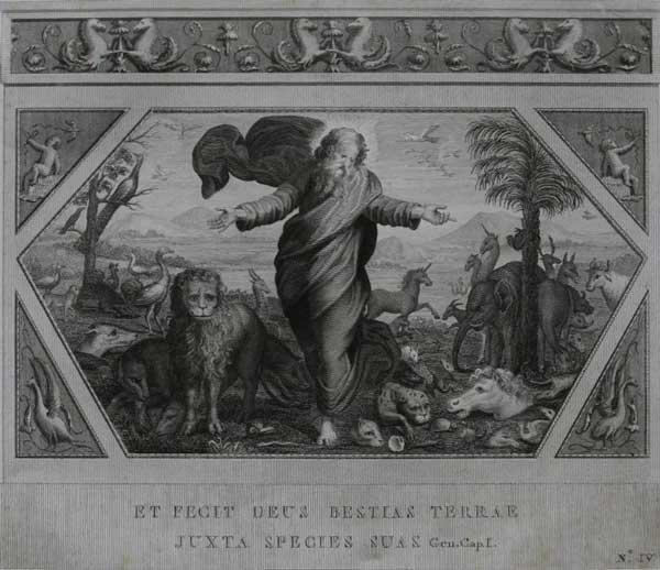 И создал Бог зверей земных в соответствии с их видами. (Альбом гравюр XVIII века. Библия Рафаэля)