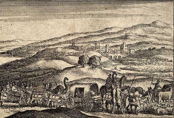 Иаков отправляется в Египет. Художник Офорт Вацлава Холлара, XVII в.