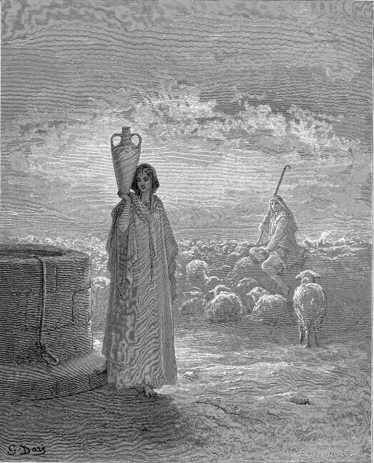 Иаков пасёт овец Лавана. Художник Г. Доре
