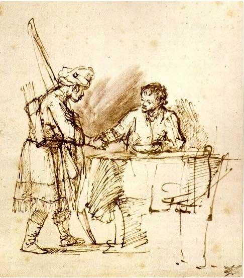 Исав продает свое первородство Иакову. Рембрандт, 1648-1650 гг.