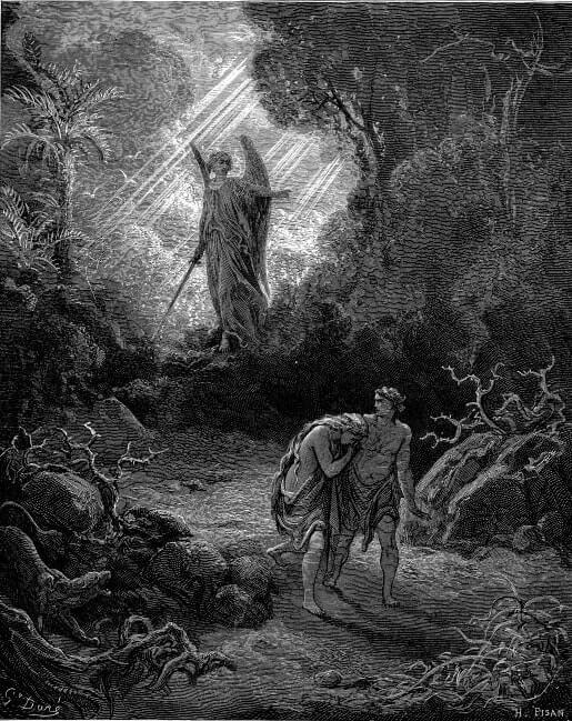 Изгнание Адама и Евы из Еденского сада. Художник Г. Доре