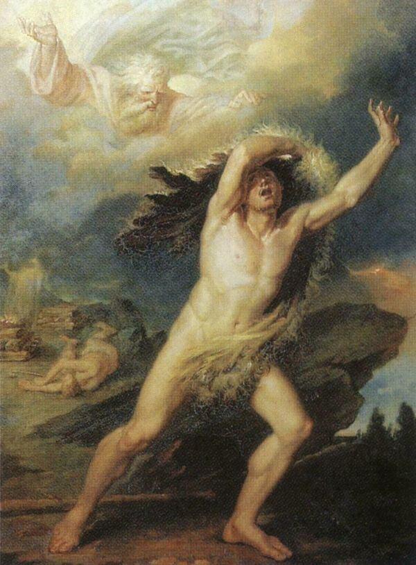 Кайн, осуждаемый Господом за братоубийство и бегущий от гнева Божия. Художник В. И Бриоски. 1813 г.