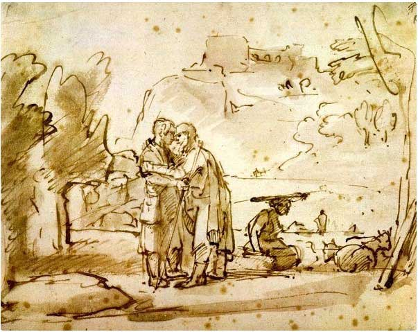 Лаван приветствует Иакова. Рембрандт, 1655 г.