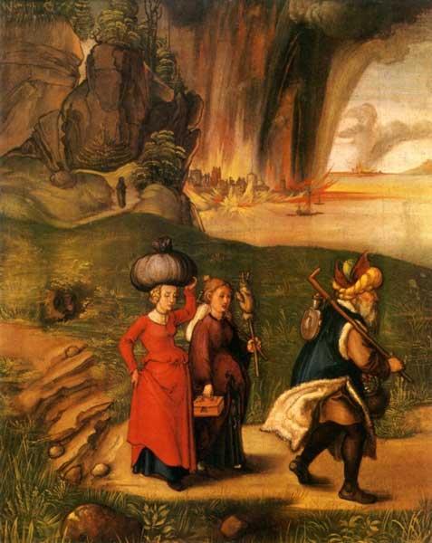 Лот с семьей убегает из Седома. Художник Альбрехт Дюрер, 1496 г.