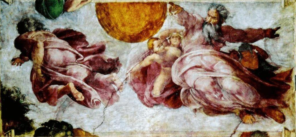 Микеланджело Буонарроти. Сотворение светил. Фреска. Начало XVI в. Сикстинская капелла. Ватикан.