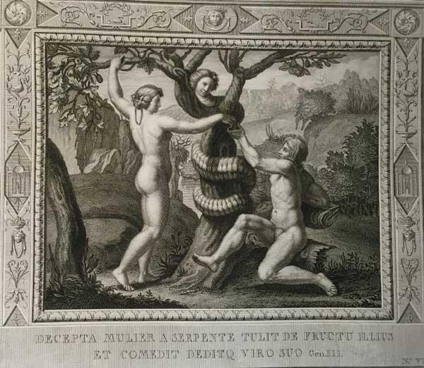 Обманул женщину змей, взяла запретный плод его, и ел муж ее. (Альбом гравюр XVIII века. Библия Рафаэля)