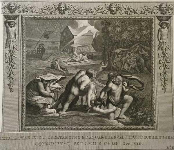 Окна небесные отворились на землю и воды потопа поглотили всякую плоть. (Альбом гравюр XVIII века. Библия Рафаэля)