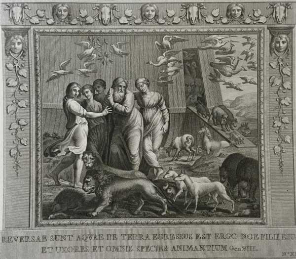 Они вернулись из воды на землю, и вышел Ной с женой и детьми, и каждый вид животных. (Альбом гравюр XVIII века Библия Рафаэля)