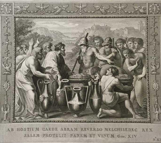 От врага возвращается Абрам в Мелхиседес, царь вынес хлеб и вино. (Альбом гравюр XVIII века. Библия Рафаэля)