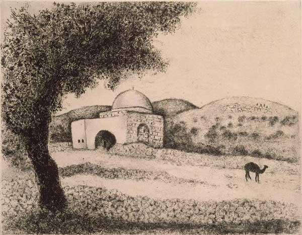 Памятник на могиле Рахили, что на дороге в Эфрат. Художник Марк Шагал, 1931 г.