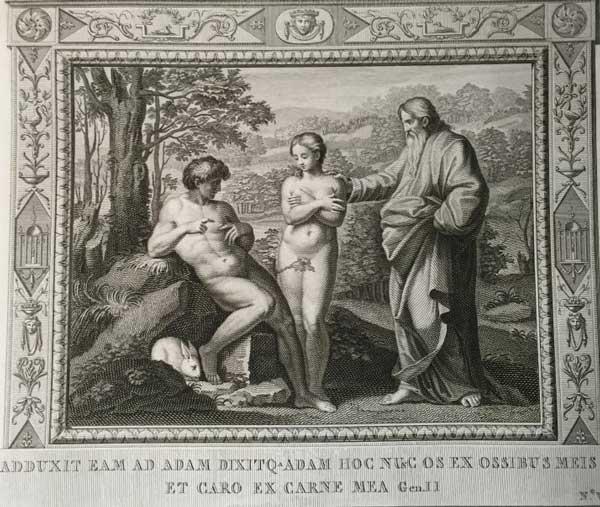 Привел ее к Адаму, Адам сказал- это кость от костей моих и плоть от плоти моей. (Альбом гравюр XVIII века. Библия Рафаэля)