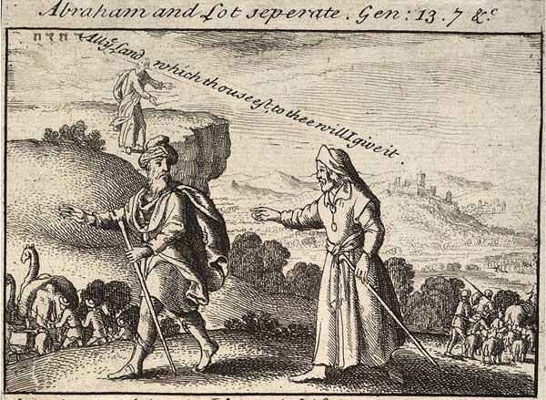 Разделение Авраама и Лота. Офорт Вацлава Холлара, XVII в.