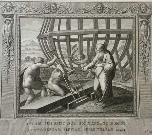 Сделал для себя Ной ковчег по велению Господа, чтобы избежать дождя на земле. (Альбом гравюр XVIII века. Библия Рафаэля)
