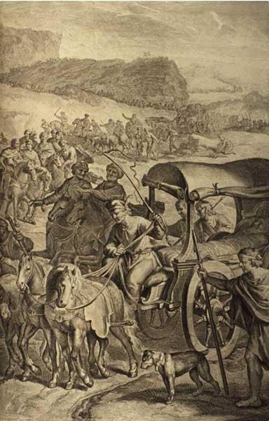 Тело Иакова доставляют в Канаан для захоронения. Иллюстрация Герарда Хоета, 1728 г.