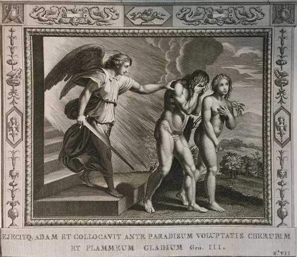 Вывел Адама из райского сада херувим с пламенным мечом. (Альбом гравюр XVIII века. Библия Рафаэля)