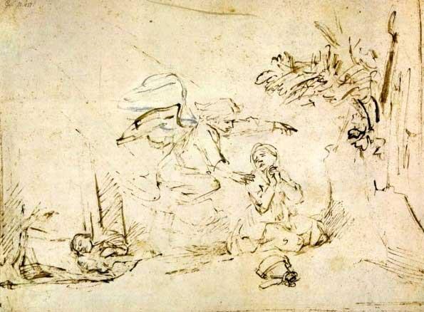 Явление ангела Агари. Художник Рембрандт, 1655 г.