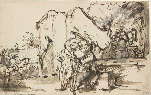 Елиезер и Ревекка у колодца. Художник Рембрандт, 1640 г.