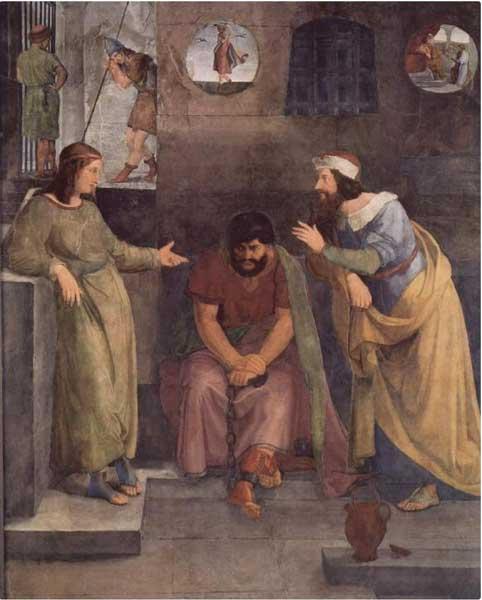 Иосиф в тюрьме толкует сновидения. Художник Фридрих Вильгельм фон Шадов, 1817 г.