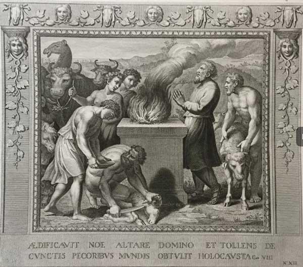Жертвоприношение Ноя (Альбом гравюр XVIII века. Библия Рафаэля)