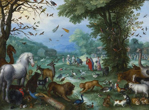 Загрузка животных в Ноев ковчег. Художник Ян Брейгель 1568-1625 гг.