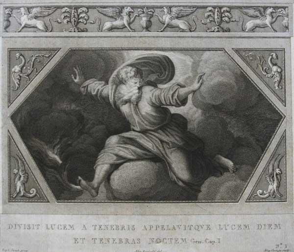 Он разделил свет от тьмы, и назвал свет днем и тьму ночью. (Альбом гравюр XVIII века. Библия Рафаэля)