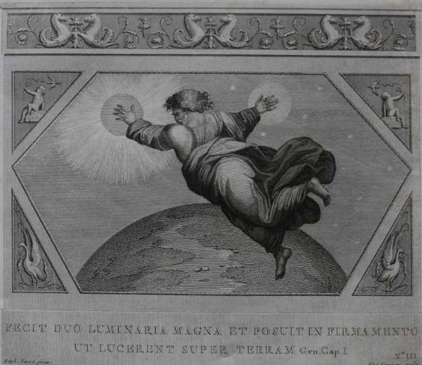 Он создал два света и поставил на тверди, чтобы светить на землю. (Альбом гравюр XVIII века. Библия Рафаэля)