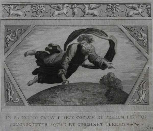 Вначале сотворил Бог небо и землю, и сказал- да произведет земля и соберутся воды. (Альбом гравюр XVIII века. Библи Рафаэля)