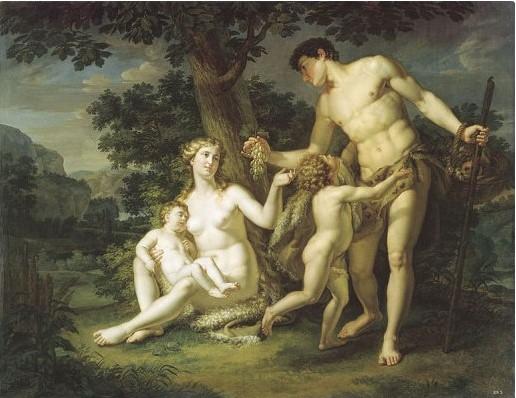 Адам и Ева с детьми под деревом. Андрей Иванов, 1803 г.