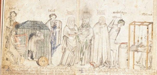 Дети Ламеха. Справа Ноема за ткацким станком. Англия, XIV в.