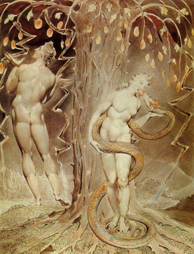 Искушение и грехопадение. Уильям Блейк, 1808 г.