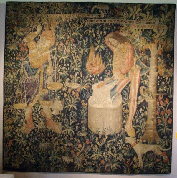(Каин с весами) и Тувалкаин. Гобелен. Голландия, нач. XVI в.