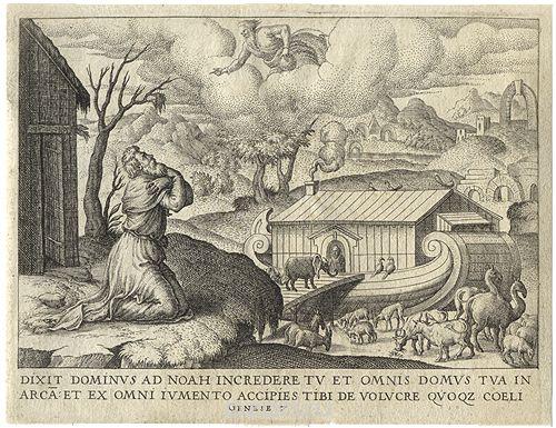 Ной с семейством входит в ковчег. Гравюра (XVI век), Франция