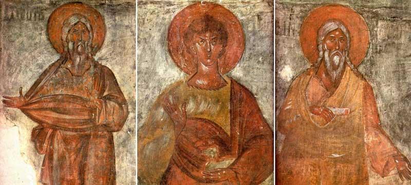 Праотцы Адам, Авель, Сиф. Фреска Феофана Грека 1378 г.