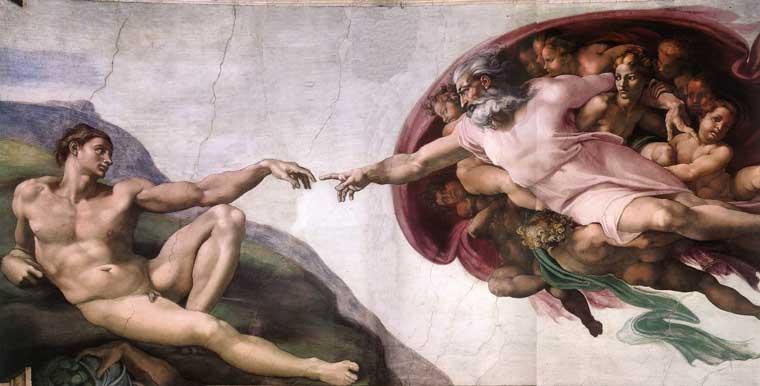 Сотворение Адама. Фреска Микеланджело, 1510 г.