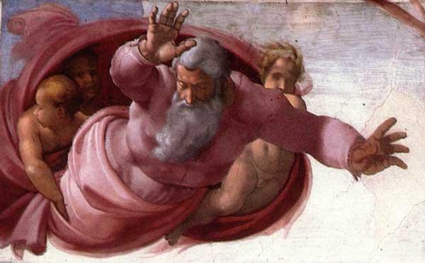 Сотворение солнца, луны и планет. Фреска Микеланджело, 1511 г.