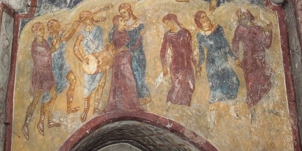 Сыны Божии и дочери человеческие. Фреска. Сербия, XIV век.