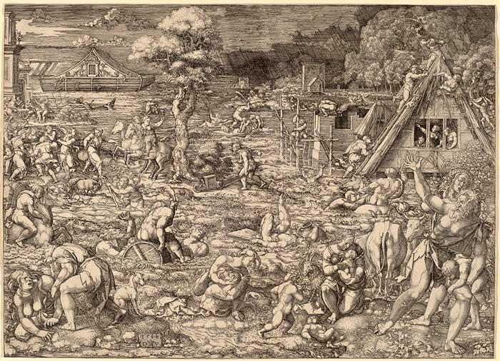 Всемирный потоп. Художник Дирк Якобс Веллерт, 1544 год.