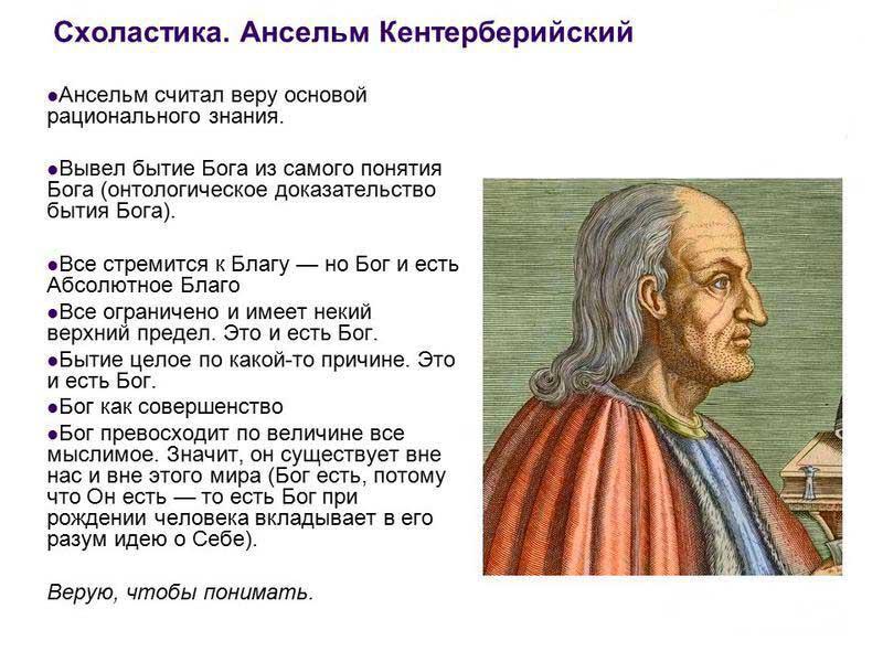Основные философские идеи  Ансельма Кентерберийского